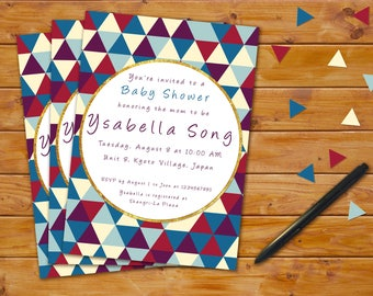 Triangle Tribal Baby Shower Invitation
