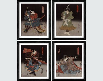 Samurai print set 4 / Asian art print set / Japanese art print set / Samurai print set / Asian art / Wall art set of 4 / Wall decor set /