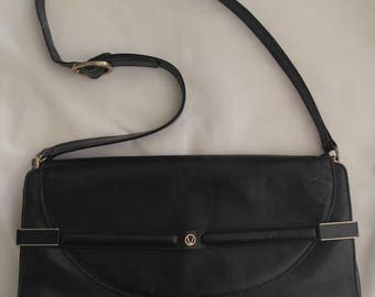 1970s Via Veneto black leather shoulder bag
