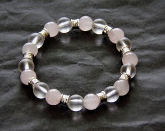 Bracelet rose quartz and rock crystal quartz