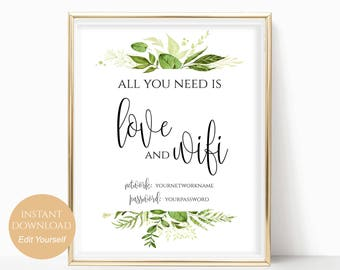 WIFI Password Sign Wifi Printable All You Need is Love and Wifi Wedding Printable Wedding Template PDF Instant Download DIY 8x10, 5x7, 4x6