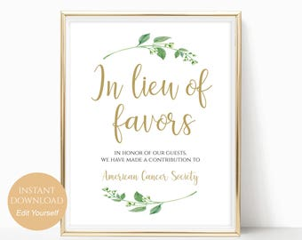 In Lieu of Favors Sign Donation Sign Favors Sign Favors Wedding Sign Wedding Favors PDF Instant Download DIY 8x10, 5x7, 4x6 Jasmine