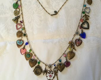Key and Hearts Charm Necklace - Vintage Anne Koplik Designs Signed