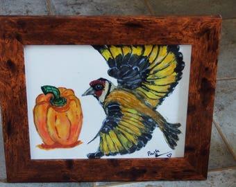 Watercolour goldfinch and pepper, Wall Art decor, Rustic effect framed art, bird home decor, Original One Off, vegetable art decor