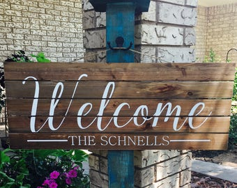 Personalized Welcome Sign, Hanging Welcome Sign, Family Name Sign