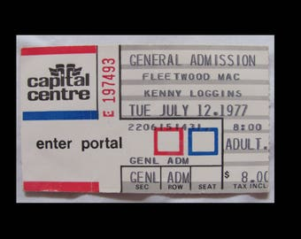 Fleetwood Mac 1977 Rumours Tour Full 3/4 Concert Ticket FREE SHIPPING
