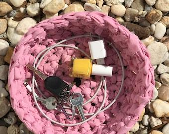 Pink Crocheted Rag Basket