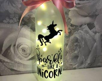 Sparkle like a unicorn frosted light bottle