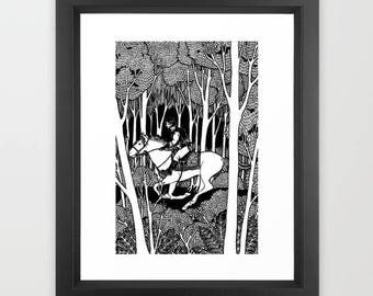The Rider in the Forest Print  -  Prints, Horse and Rider , Miniature Art, Forest, Fairy-tale, Black and White, Original Artwork
