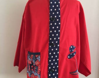 School 6 red cotton blouse