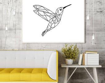 Geometric hummingbird printed canvas (black/white)