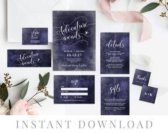 Destination Wedding Invitation Set INSTANT DOWNLOAD, Wedding Invite, DIY Printable Invite, Templett, Editable pdf, Navy, Adventure Awaits