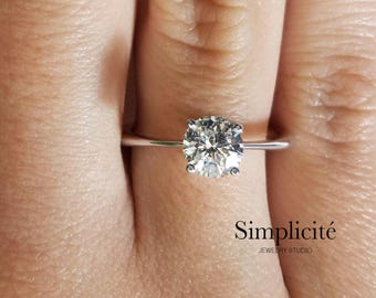 1.25 ct Round Cut Classic SI1 Diamond  Engagement Ring, Engagement Solitaire Ring, 14K White Gold
