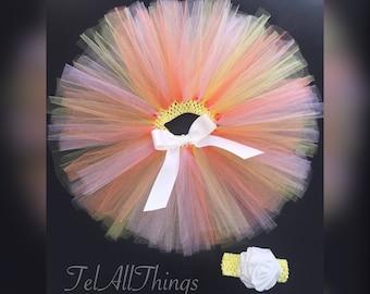 Pink, Orange, Yellow, Tutu Newborn 0-3 months 3-6 months 6-9 months 12 months 18 months 24 months
