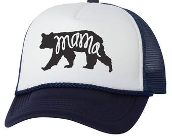 Mama Bear Trucker Hat -Grizzly