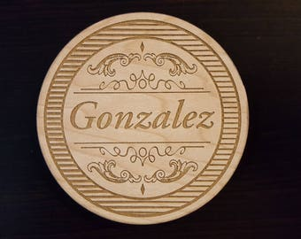 Personalized Name or Last Name Wooden Drink Coasters.  Set of 4
