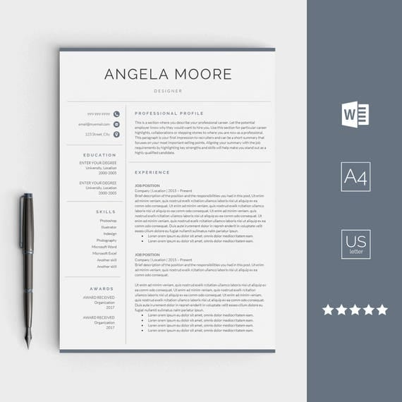 resume template for word instant download cv template