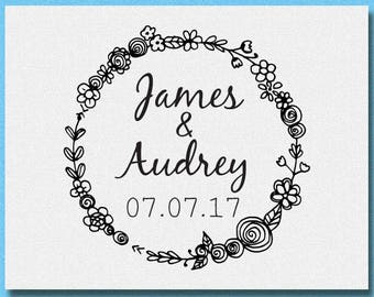 Personalized Wedding Stamp, Custom name and date stamp, Wedding Favor, Save the Date, Wedding Monogram Stamp, Custom Wedding Stamp