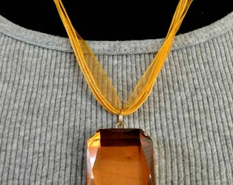 Faux Amber Pendant on Cord