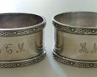 Pair hallmarked sterling silver napkin rings