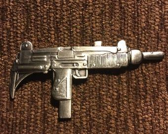 UZI assault rifle machine gun pewter hat pin