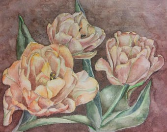 Watercolor Painting of Tulips
