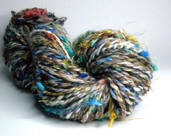 "Handspun textured ""scrappy"" art yarn ""Bazaar"", use in knitting, crocheting, felting, weaving, sewing/embroidery or as doll hair"