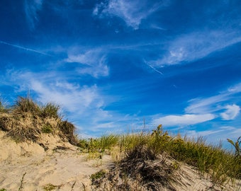 Fine Art, Photography, landscape,  sand dune, clouds, color, photograph, blue sky, sand, shore, beach, wall art, landscape, print