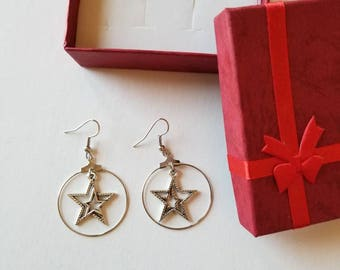 Star earrings, Star of the night earrings, Star jewelry.