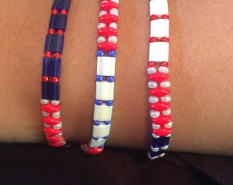 "7"" Red, White, Blue wrap around bracelet"