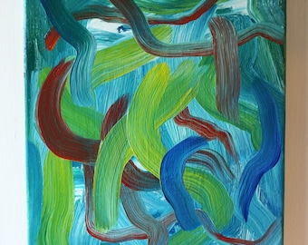 Stay With Me - Painting, Oil on Canvas, Abstract, Simple, Meditative, Blue, Green, Yellow
