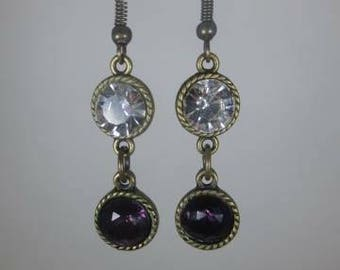 Clear and purple round brass finished crystals dangle earrings