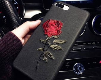 Iphone x case, iphone 10 case, Embroidered rose cell phone case for i 6 6plus iphone 7 7plus iphone 8 8plus-CYL104