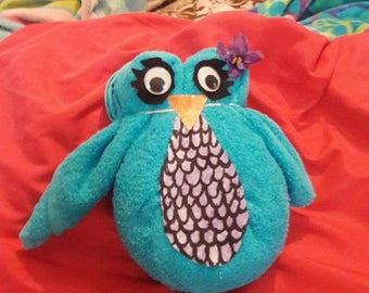 Full size origami towel owl cute blue