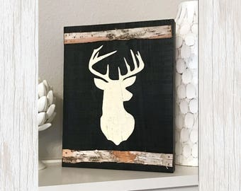 Rustic Deer Sign, Rustic Sign, Rustic Deer Decor, Wood Deer Wall Decor, Rustic Wall Decor, Wood Deer Sign, Deer Silhouette, Barn Wood Sign