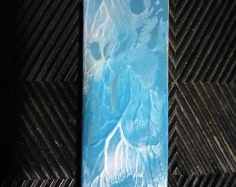 Blue and silver painted leather bookmark