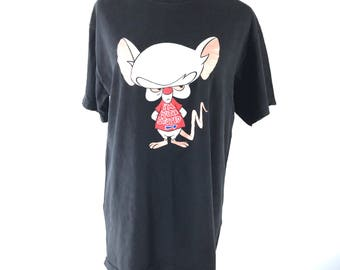 Vintage PINKY & BRAIN I'm With Stupid T-Shirt Genius Animaniacs Made in USA