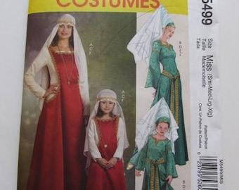 Medieval Dress, Renaissance Dress, Hat, Veil Adult Size McCall's M5498 - Uncut