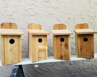 """Set of 4 bluebird house, Cedar bird house new, Handmade  3/4"""""""