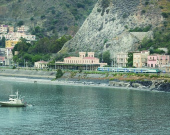 Coastal Wall Art, Fisherman, Train Station, Sicily