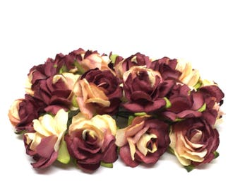 Burgundy And Cream Classic Mulberry Paper Roses Cr042