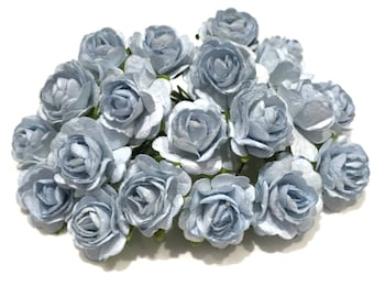 Dusky Blue Open Mulberry Paper Roses Or082