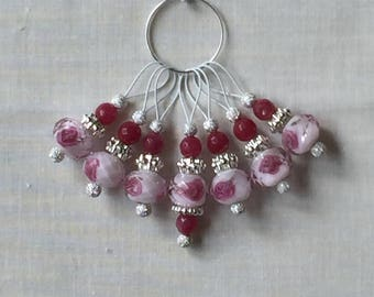 Crystal Rose and Silver Knitting Stitch Markers