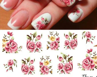 Flower nail art etsy 1sheet fashion rose flower nail art water transfer stickers decals tip decoration diy for nails accessories prinsesfo Gallery