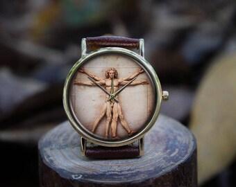 The Vitruvian Man by Leonardo da Vinci | Italian Renaissance Drawing Watch (Good for Present Gifts, Decorations, Wedding, Apparel Accessory)