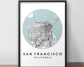 San Francisco City Print, Street Map Art, San Francisco Map Poster, San Francisco Map Print, City Map Wall Art, San Francisco Map, USA