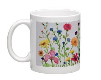 Art mug, Field of Wild, flowers, colorful