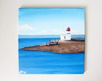 Parrsboro, Nova Scotia Lighthouse Acrylic Painting