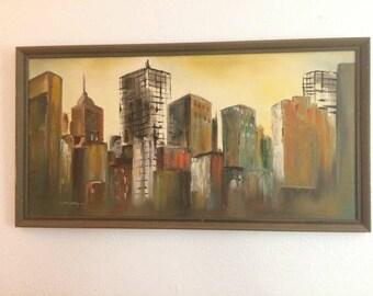 Mid Century Warm Tones Abstract Skyline Painting