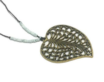 Gold Leaf Necklace, Hemp Necklace, Blue Necklace, Gold Necklace, Boho Necklace, Long Necklace, Bohemian Necklace, Beaded Necklace, Jewelry